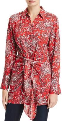 Foxcroft Serena Tie Waist Paisley Print Tunic