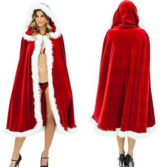 MuNiSa Christmas Costume Mrs. Santa Claus Cardigan Velvet Hooded Cape Cloak
