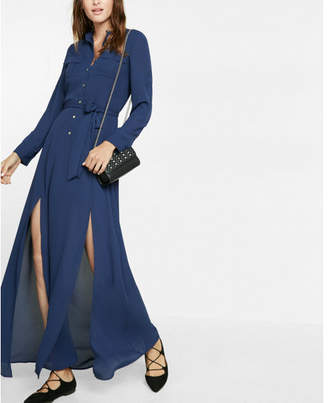 Express Tie Waist Popover Maxi Dress $88 thestylecure.com