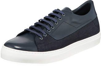 Jared Lang Men's Leather Denim-Side Low-Top Sneaker, Navy