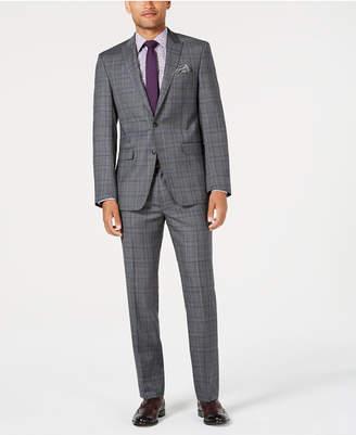 Tallia Men's Slim-Fit Stretch Gray/Blue Plaid Suit