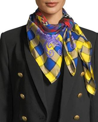 Versace Square Plaid Silk Foulard Scarf with Mismatched Logo