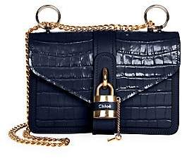 Chloé Women's Medium Aby Crocodile-Embossed Chain Strap Crossbody Bag