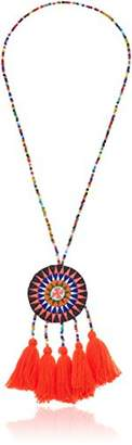 Panacea Cotton Tassel Woven Pendant Necklace