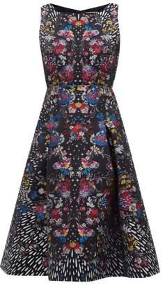 Mary Katrantzou Tallon Floral Brocade Fit And Flare Dress - Womens - Black Multi