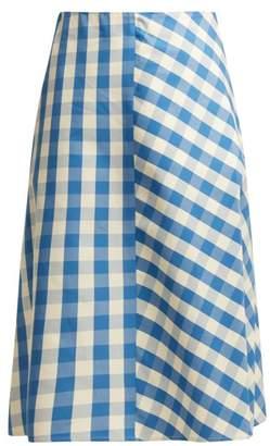 Jil Sander Giara Gingham Cotton Midi Skirt - Womens - Blue White