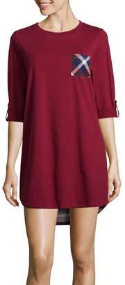 Asstd National Brand Peace Love & Dreams Womens Nightshirt Elbow Sleeve Round Neck