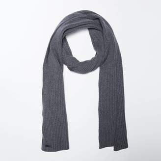 DSTLD Cashmere Blend Ribbed Scarf in Grey