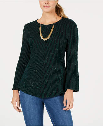 Style&Co. Style & Co Petite Sparkle-Knit Ribbed Sweater