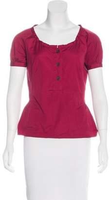 Prada Sport Woven Short-Sleeve Top