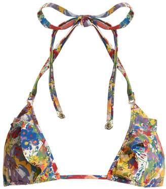 Floral-print triangle bikini top