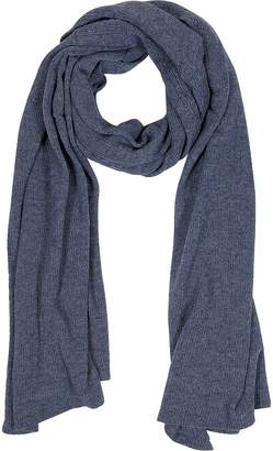 Mila Schon Solid Dark Blue Wool Blend Stole