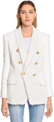 Balmain Double Breasted Fringed Tweed Blazer