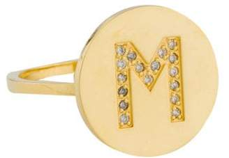 Jennifer Meyer 18K Diamond Large Initial M Disc Ring