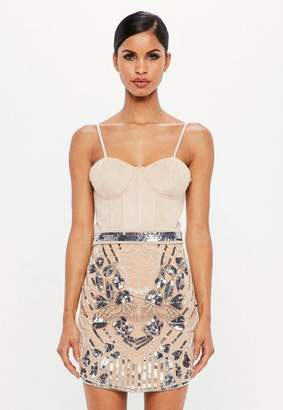 Missguided Nude Embellished High Waist Mini Skirt