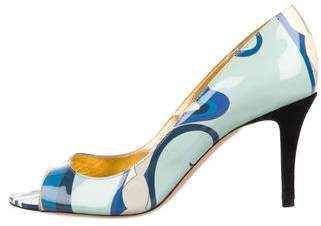 Emilio Pucci Patent Leather Peep-Toe Pumps