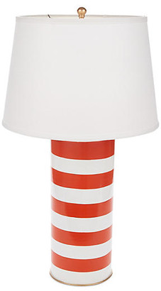 Dana Gibson Stacked Table Lamp - Orange Stripe