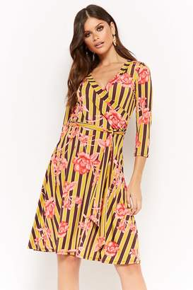 Forever 21 Striped & Floral Surplice Dress