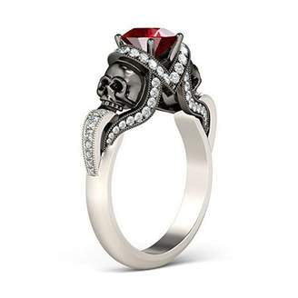 Jewelryhub 14k White Gold Plated 2Tone Plated 1.50 Ct Round Cut Red Ruby & White Cubic Zirconia Skull Fashion Ring Women's Jewelry