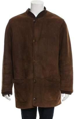 Giorgio Armani Shearling Rib Knit-Trimmed Coat