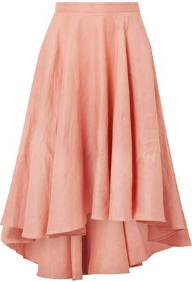 Miguelina Gale Pleated Linen Midi Skirt - Antique rose