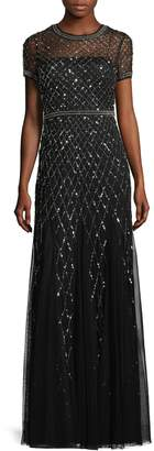 Adrianna Papell Women's Beaded Sleeve Gown