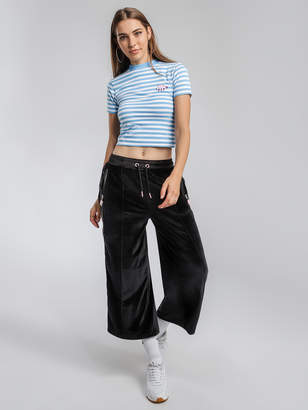 Lazy Oaf Bunny Track Pants in Black Velour
