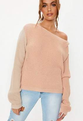 Missguided Nude Colourblock Off Shoulder Sweater