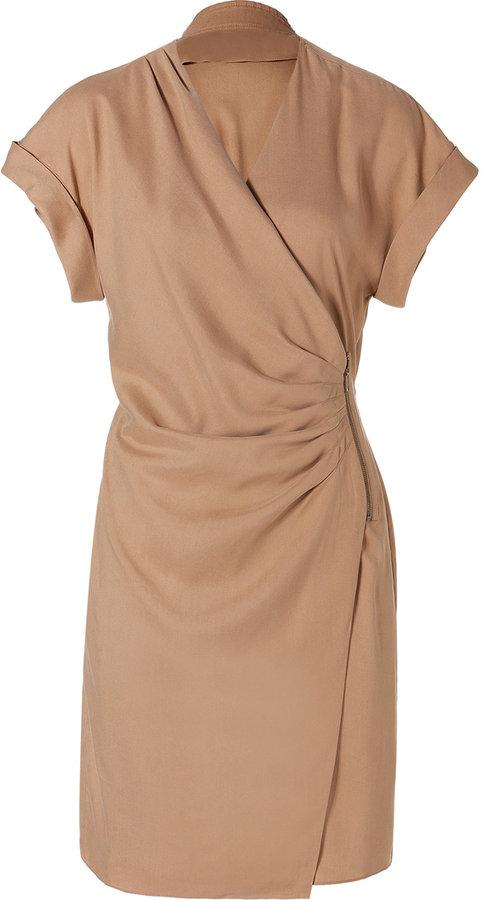 Catherine Malandrino Camel Silk Zipped Wrap Dress