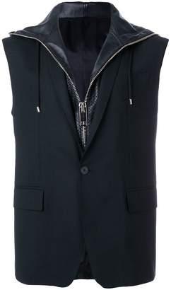 Les Hommes sleeveless hooded blazer
