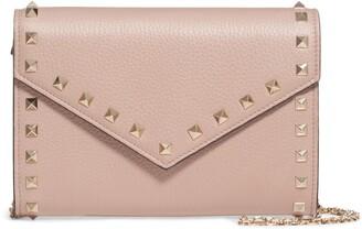 Valentino Rocktstud V-Flap Calfskin Leather Wallet on a Chain