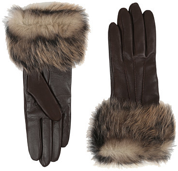 UGG UGG Three Point Long Toscana Trim Leather Smart Gloves