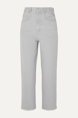 Isabel Marant Daliska Cropped High-rise Straight-leg Jeans - Light gray