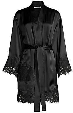 Oscar de la Renta Sleepwear Women's Short Lace-Trim Satin Robe
