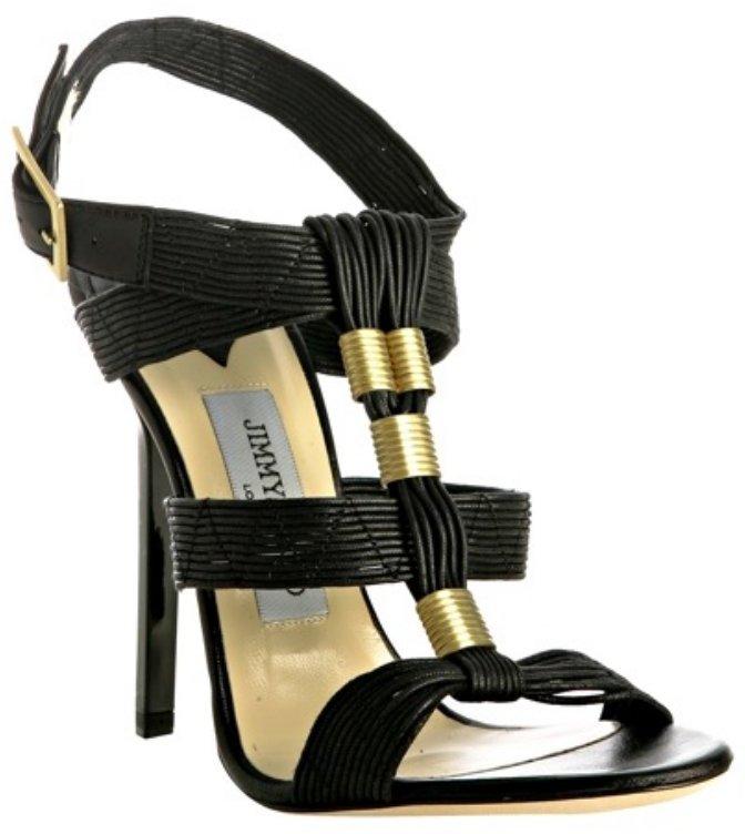 Jimmy Choo black waxed leather 'Serena' sandals