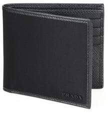 Prada Leather-Trimmed Bi-Fold Wallet