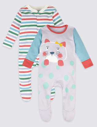 Marks and Spencer 2 Pack Pure Cotton Hanging Sleepsuits