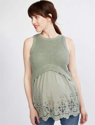 A Pea in the Pod Eyelet Mixed Media Maternity Sweater