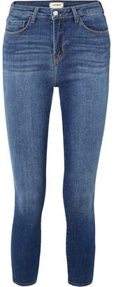 L'Agence Margot Cropped High-rise Skinny Jeans - Mid denim