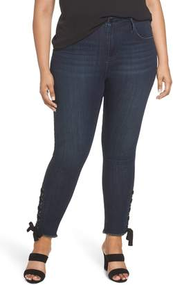 Seven7 High Rise Lace-Up Side Hem Skinny Jeans