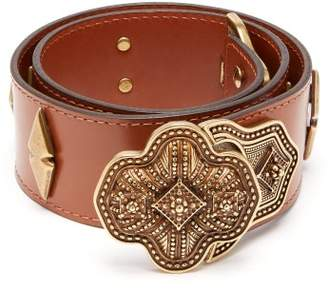 Etro Studded Leather Belt - Womens - Tan
