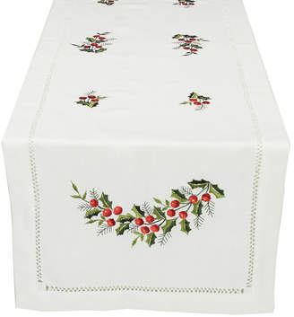 The Holiday Aisle Holly Berry Embroidered Hemstitch Holiday Table Runner