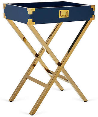 One Kings Lane Hayden Campaign-Style Tray Table - Navy