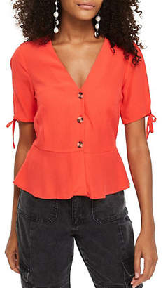Topshop TALL Bryony Buttoned Tea Blouse