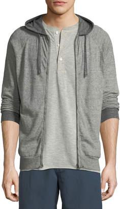 Billy Reid Whit Heathered-Knit Zip-Front Hoodie