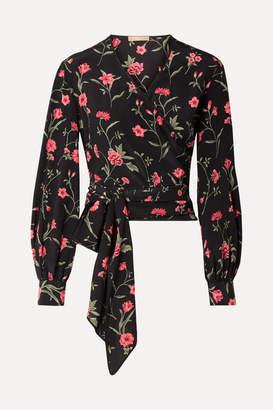 Michael Kors Floral-print Silk-georgette Wrap Blouse - Black
