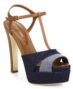 Sergio Rossi Edwige Denim & Leather Platform T-Strap Sandals