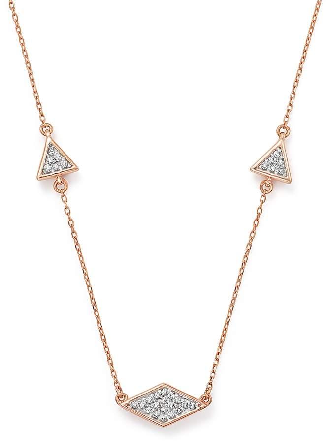 Adina 14K Rose Gold Pave Diamond Triangle Necklace, 12.5