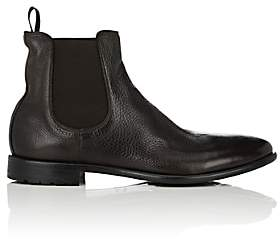 Barneys New York Men's Washed Leather Chelsea Boots-Brown