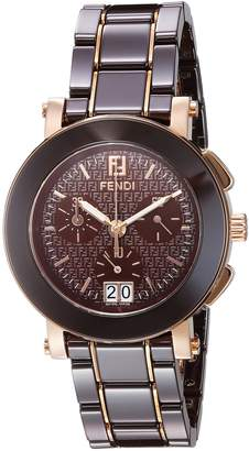 Fendi Women's 'Chrono' Swiss Quartz Gold-Tone and Ceramic Dress Watch, Color: (Model: F674120)